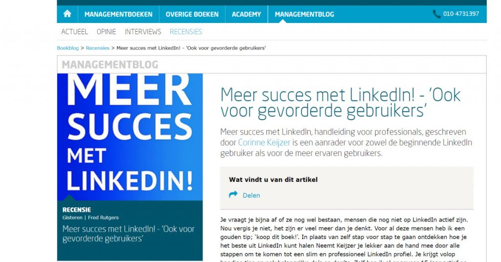 Recensie op Managementboek van 'Meer succes met LinkedIn!'